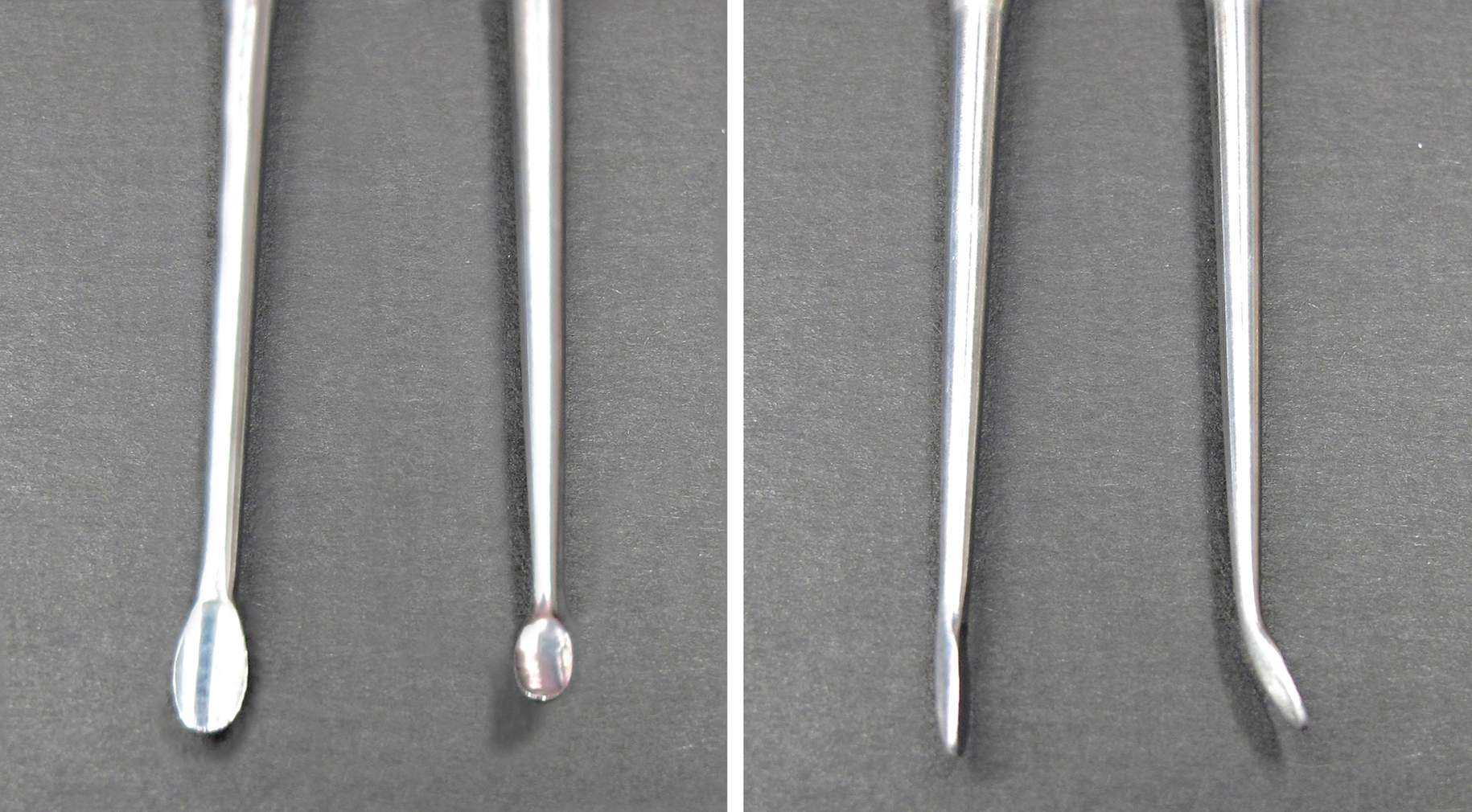 Figure 5: Customized angled instruments with appropriately sharp tips can significantly facilitate mobilization of more fibrous tumors away from the brain-tumor interface. The angled instrument shown here is my favorite one for dissecting and mobilizing acoustic tumors and meningiomas away from the brainstem.