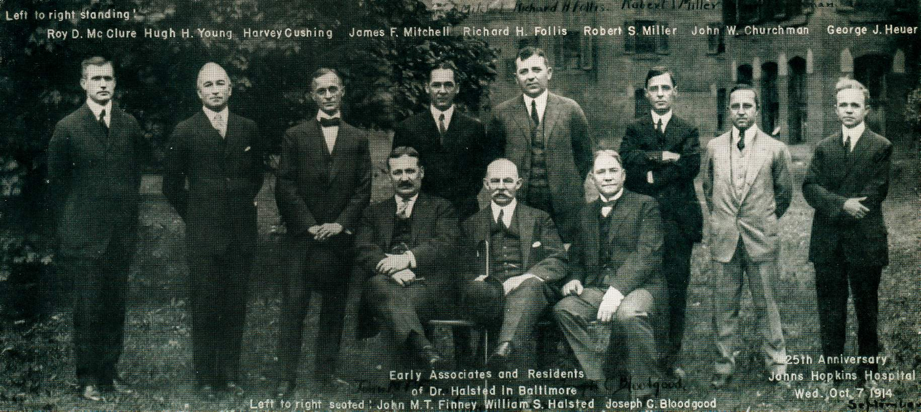 Figure 1: Rare photo of Halsted's associates and residents commemorating the 25th anniversary of Johns Hopkins Hospital on October 7, 1914. Halsted is seen in the middle of the first row (sitting) and Cushing is seen third from the left in the second row (standing). William Halsted is considered the father of American surgery who established the first model of surgical training in the United States. Many of his residents and associates (pictured here) went on to establish the different surgical subspecialties.