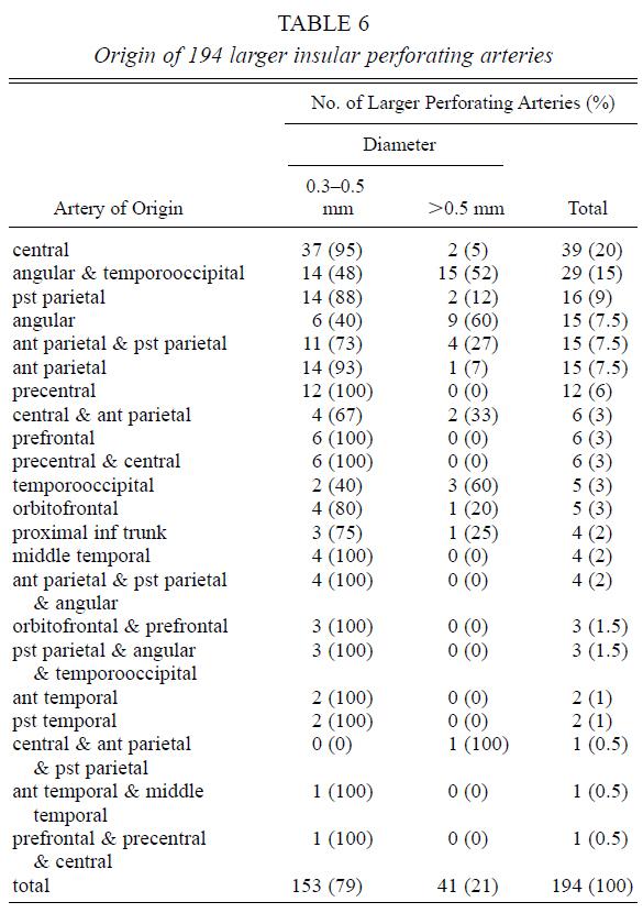 Table 6.Origin of 194 larger insular perforating arteries.