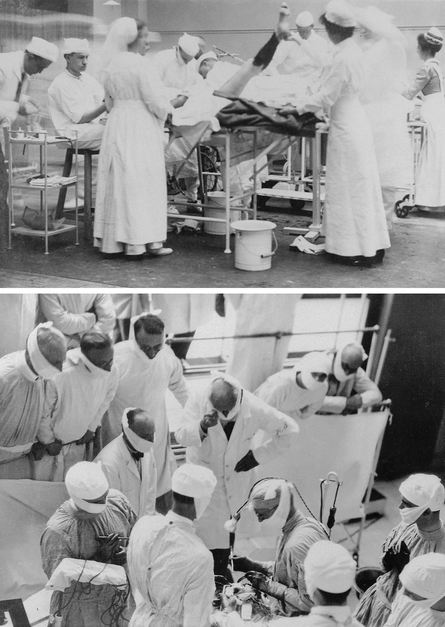 Figure 1: The young Harvey Cushing and his operating room at Johns Hopkins, circa ~1908 (upper image). At the peak of his career, in August 1929, Cushing performed an operation for visiting Professor I.P. Pavlov (lower image)(photos courtesy of the Cushing Brain Tumor Registry at Yale University).