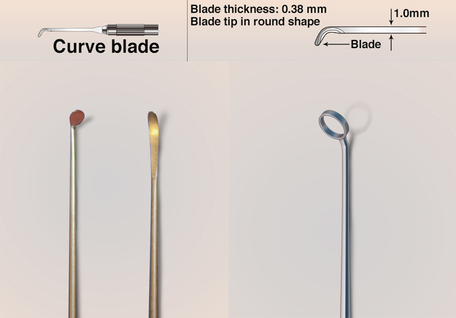 """Figure 4: Curved blades are especially effective for cutting """"toward"""" the surgeon and extending the dural incisions around the neurovascular structures (first row of images). The """"pancake"""" dissector and curved dissector (bottom row, left) and 45-degree ring curettes (bottom row, right) are my favorite dissecting instruments for endonasal microsurgical skull base surgery. Their appropriately angled tips allow adequate visualization and easy maneuverability."""